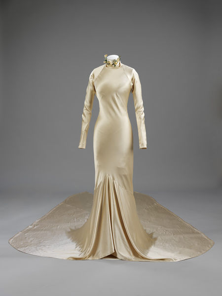 Silk satin wedding dress from the 1930s