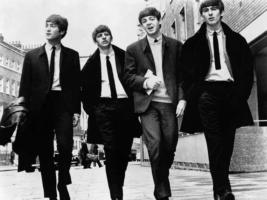 Black and White photo of the Beatles